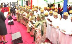 Gov Sanwo-Olu swears in 57 council chairmen for Lagos, says 'it's time for work, not for political vendetta'